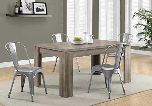 Monarch Specialties Dining Table Dark Taupe Reclaimed Look 60L 0 2
