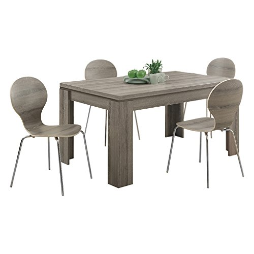 Monarch Specialties Dining Table Dark Taupe Reclaimed Look 60L 0 4
