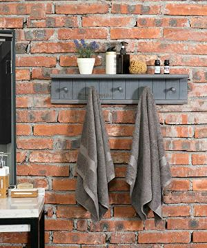 MyGift 5 Hook Dark Grey Wall Mounted Floating Bathroom Shelf Towel Rack 0 0 300x360