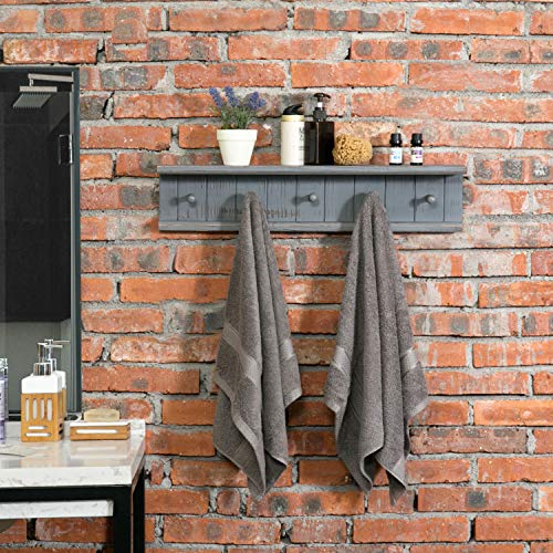 MyGift 5 Hook Dark Grey Wall Mounted Floating Bathroom Shelf Towel Rack 0 0