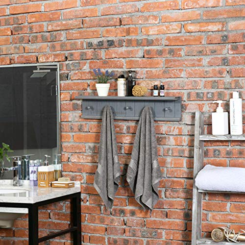 MyGift 5 Hook Dark Grey Wall Mounted Floating Bathroom Shelf Towel Rack 0 1
