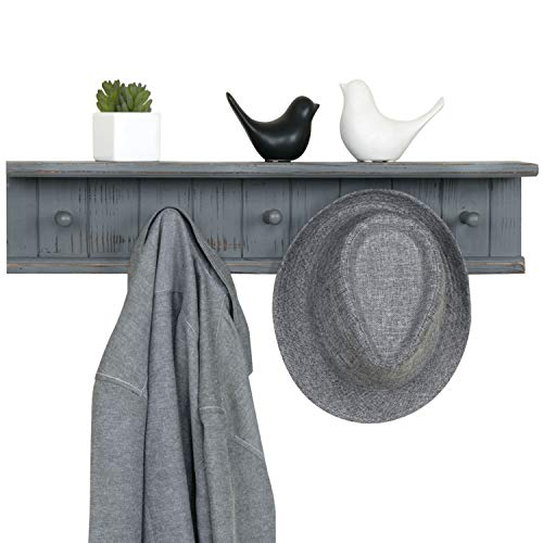 MyGift 5 Hook Dark Grey Wall Mounted Floating Bathroom Shelf Towel Rack 0 3