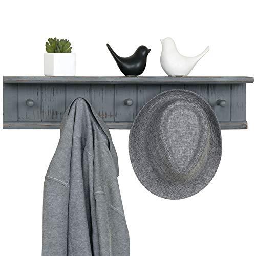 awesome floating bathroom shelves towel | MyGift 5-Hook Dark Grey Wall Mounted Floating Bathroom ...