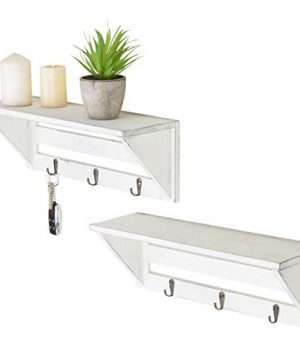 MyGift Set Of 2 Vintage White Wood 16 Inch Wall Shelves With Key Hooks 0 300x360