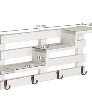 MyGift Wall Mounted Vintage White Wood Tiered Accent Shelf With Key Hooks 0 2 300x360