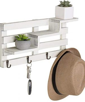MyGift Wall Mounted Vintage White Wood Tiered Accent Shelf With Key Hooks 0 3 300x360