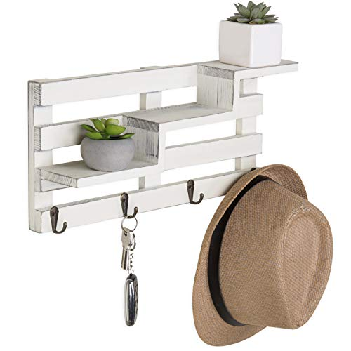 MyGift Wall Mounted Vintage White Wood Tiered Accent Shelf With Key Hooks 0 3