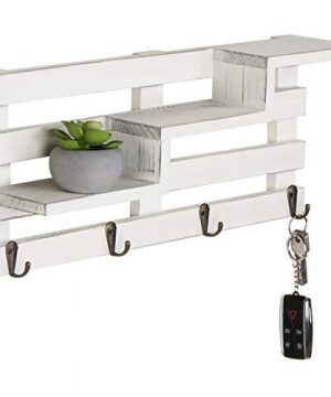 MyGift Wall Mounted Vintage White Wood Tiered Accent Shelf With Key Hooks 0 300x360