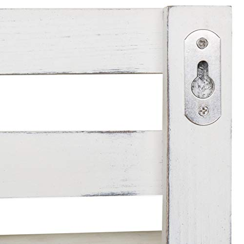 MyGift Wall Mounted Vintage White Wood Tiered Accent Shelf With Key Hooks 0 4