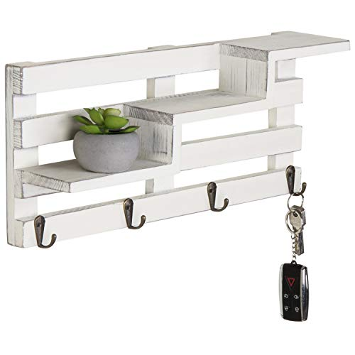 MyGift Wall Mounted Vintage White Wood Tiered Accent Shelf With Key Hooks 0
