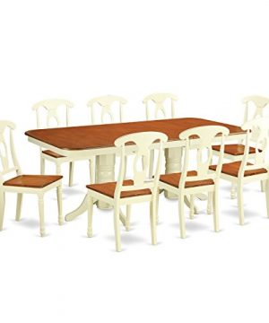 NAKE9 WHI W 9 Pc Dining Set Table With Leaf And 8 Dining Chairs 0 300x360