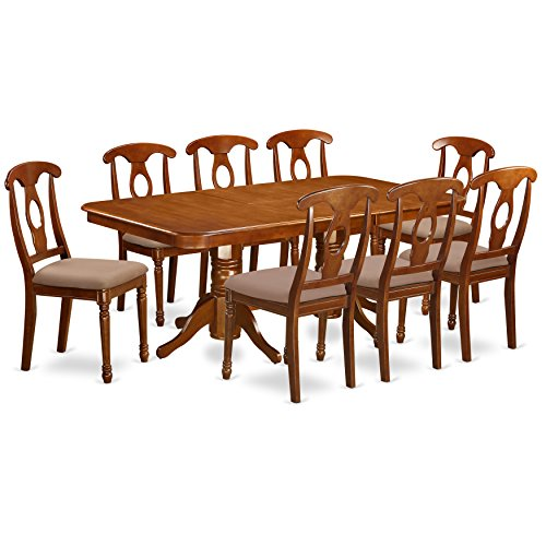 NANA9 SBR C 9 Pc Dining Room Set Rectangular Table With Leaf And 8 Kitchen Dining Chairs 0
