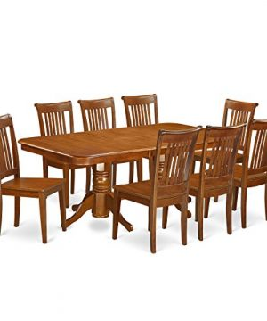 NAPO9 SBR W 9 Pc Dining Room Set Table With Leaf And 8 Kitchen Dining Chairs 0 300x360