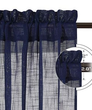 NICETOWN Living Room Sheer Curtains Rod Pocket Faux Linen Translucent Privacy With Light Filtering Sheer Panels Vertical Drapes For HallVillaCottage Dark Blue 52 X 84 1 Pair 0 0 300x360