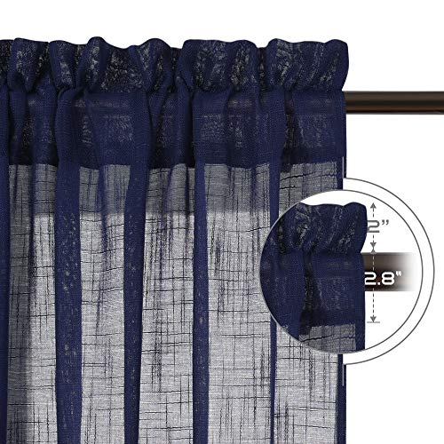 NICETOWN Living Room Sheer Curtains Rod Pocket Faux Linen Translucent Privacy With Light Filtering Sheer Panels Vertical Drapes For HallVillaCottage Dark Blue 52 X 84 1 Pair 0 0