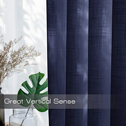 NICETOWN Living Room Sheer Curtains Rod Pocket Faux Linen Translucent Privacy With Light Filtering Sheer Panels Vertical Drapes For HallVillaCottage Dark Blue 52 X 84 1 Pair 0 2