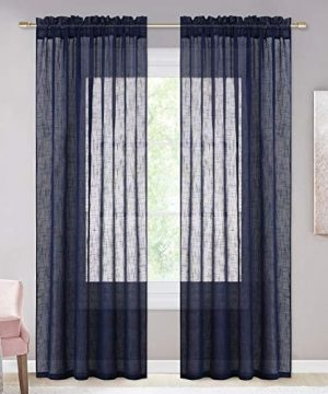 NICETOWN Living Room Sheer Curtains Rod Pocket Faux Linen Translucent Privacy With Light Filtering Sheer Panels Vertical Drapes For HallVillaCottage Dark Blue 52 X 84 1 Pair 0 300x360