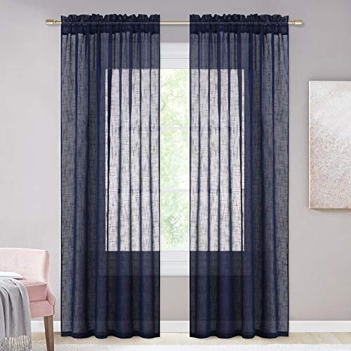 NICETOWN Living Room Sheer Curtains Rod Pocket Faux Linen Translucent Privacy With Light Filtering Sheer Panels Vertical Drapes For HallVillaCottage Dark Blue 52 X 84 1 Pair 0