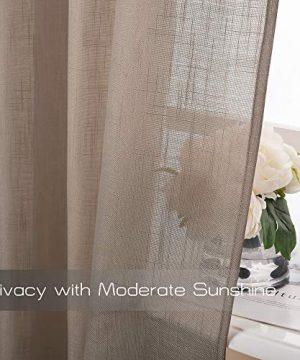 NICETOWN Semi Sheer Big Widow Curtains For Living Room Grommet Rustic Linen Textured Window Coverings Balance Light Privacy Draperies For Farmhouse W52 X L84 2 Panels In Taupe 0 2 300x360