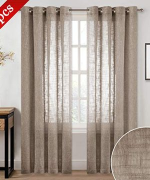 NICETOWN Semi Sheer Big Widow Curtains For Living Room Grommet Rustic Linen Textured Window Coverings Balance Light Privacy Draperies For Farmhouse W52 X L84 2 Panels In Taupe 0 300x360