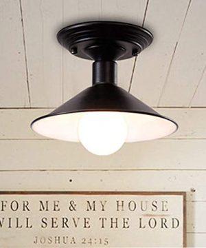 NIUYAO Antique Industrial Ceiling Light Semi Flush Mount Light Fixture Farmhouse Lighting Edison Light Fixture Vintage Barn Light In Polished Black 448823 0 300x360