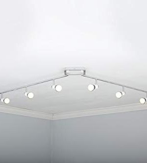 NOMA LED Track Lighting Adjustable Ceiling Light Fixture Perfect For Kitchen Hallway Living Room Bedroom White And Chrome 6 Light 0 1 300x333