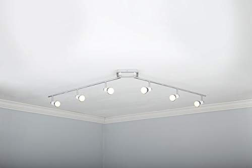 NOMA LED Track Lighting Adjustable Ceiling Light Fixture Perfect For Kitchen Hallway Living Room Bedroom White And Chrome 6 Light 0 1