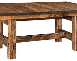 New Hickory Wholesale Amish Houston 7 Pc Solid Rough Sawn Wood Dining Table Set Stained Almond 0 0 300x238