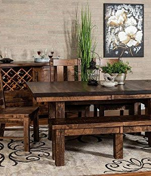 New Hickory Wholesale Amish Houston 7 Pc Solid Rough Sawn Wood Dining Table Set Stained Almond 0 300x350