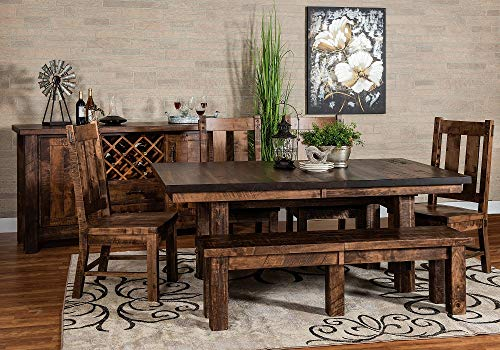 New Hickory Wholesale Amish Houston 7 Pc Solid Rough Sawn Wood Dining Table Set Stained Almond 0