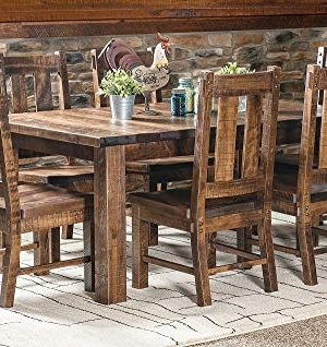 New Hickory Wholesale Amish Santa Fe 7 Pc Solid Rough Sawn Wood Dining Table Set Stained Almond 0 300x318