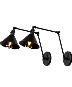 Newrays 2 Pack Industrial Adjustable Wall Mount Swing Arm Wall Lamp Sconce With Switch Hard Wired For Bedroom Sconce Black Metal Shade Fixture 0 300x360
