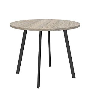 Novogratz Leo Farmhouse Round Dining Table With Sleek Slanted Metal Legs And Grey Wood Veneer Table Top 0 300x333