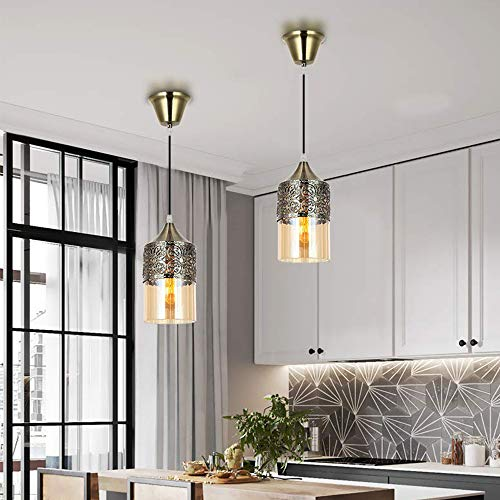Nurluce 2 Pack Chandeliers For Dining Rooms Arabian Style Pendant Lighting For Kitchen Island Vintage Moroccan Lantern Classical Hanging Lights For Living Room Brass Turkish Lamp 0 1
