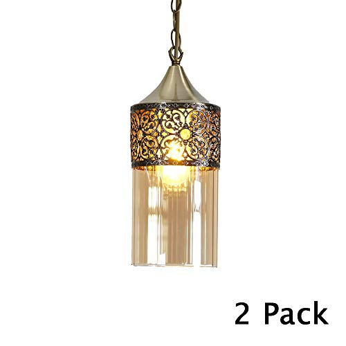 Nurluce 2 Pack Chandeliers For Dining Rooms Arabian Style Pendant Lighting For Kitchen Island Vintage Moroccan Lantern Classical Hanging Lights For Living Room Brass Turkish Lamp 0