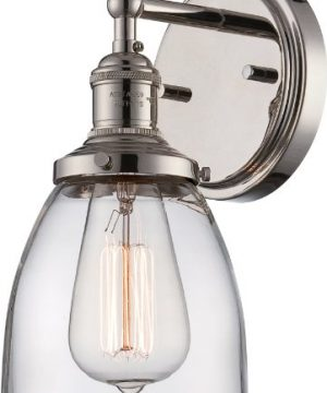 Nuvo Lighting 605414 Vintage Incandescent One Light Wall Sconce Cone Clear Glass Polished Nickel 0 300x360