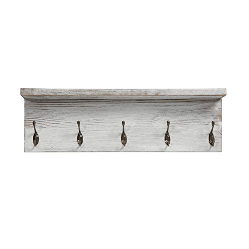 OROPY Rustic Entryway Coat Hooks With Storage Shelf Solid Wood Wall Mounted Clothes Rack 236 With 5 Hooks And Display Shelf For Hallway Bathroom Living Room Bedroom Kitchen Rustic White 0 3