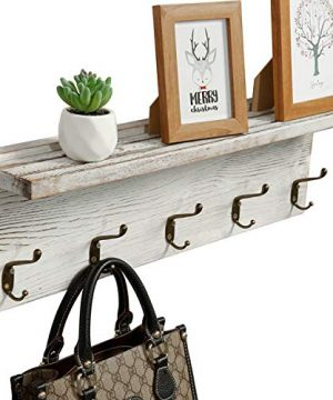 OROPY Rustic Entryway Coat Hooks With Storage Shelf Solid Wood Wall Mounted Clothes Rack 236 With 5 Hooks And Display Shelf For Hallway Bathroom Living Room Bedroom Kitchen Rustic White 0 300x360