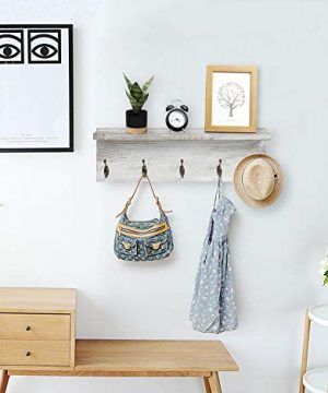 OROPY Rustic Entryway Coat Hooks With Storage Shelf Solid Wood Wall Mounted Clothes Rack 236 With 5 Hooks And Display Shelf For Hallway Bathroom Living Room Bedroom Kitchen Rustic White 0 4 300x360