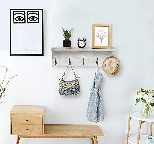 OROPY Rustic Entryway Coat Hooks With Storage Shelf Solid Wood Wall Mounted Clothes Rack 236 With 5 Hooks And Display Shelf For Hallway Bathroom Living Room Bedroom Kitchen Rustic White 0 4