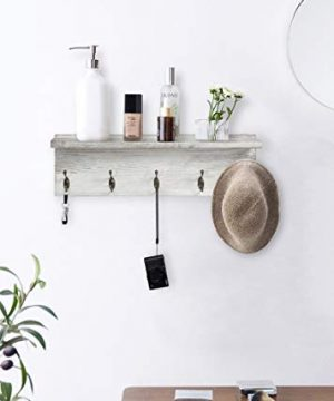 OROPY Rustic Entryway Coat Hooks With Storage Shelf Solid Wood Wall Mounted Clothes Rack 236 With 5 Hooks And Display Shelf For Hallway Bathroom Living Room Bedroom Kitchen Rustic White 0 5 300x360