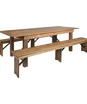 Offex 8 X 40 Antique Rustic Folding Farm Dining Table And 2 Bench Set 0 300x360