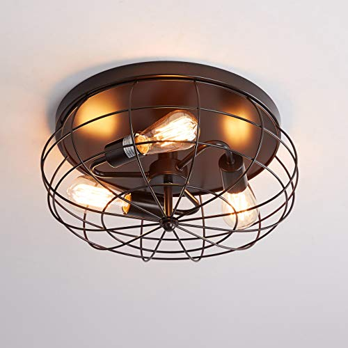 Oil Rubbed Bronze Flush Mount Ceiling Light 3 Light Industrial Metal Cage Ceiling Lighting Fixture Farmhouse Goals