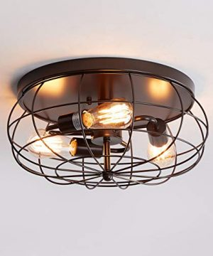 Oil Rubbed Bronze Flush Mount Ceiling Light 3 Light Industrial Metal Cage Ceiling Lighting Fxiture 0 300x360