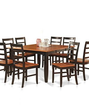 PARF9 BLK W 9 Pc Dining Room Set For 8 Square Table With Leaf And 8 Dining Chairs 0 300x360