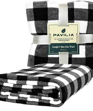 PAVILIA Flannel Fleece Throw Blanket For Sofa Couch Super Soft Velvet Plaid Pattern Checkered Decorative Throw Warm Cozy Lightweight Microfiber 50 X 60 Inches Plaid WhiteBlack 0 0 300x360