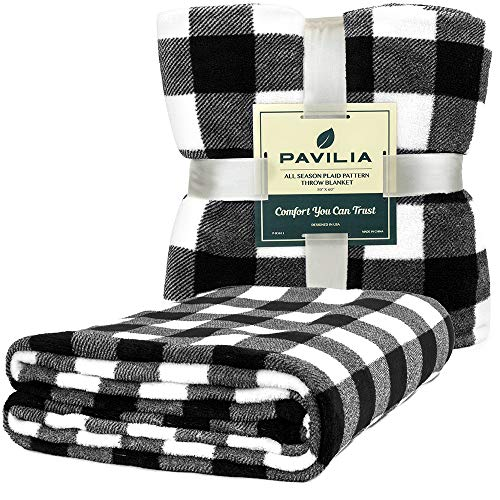 PAVILIA Flannel Fleece Throw Blanket For Sofa Couch Super Soft Velvet Plaid Pattern Checkered Decorative Throw Warm Cozy Lightweight Microfiber 50 X 60 Inches Plaid WhiteBlack 0 0