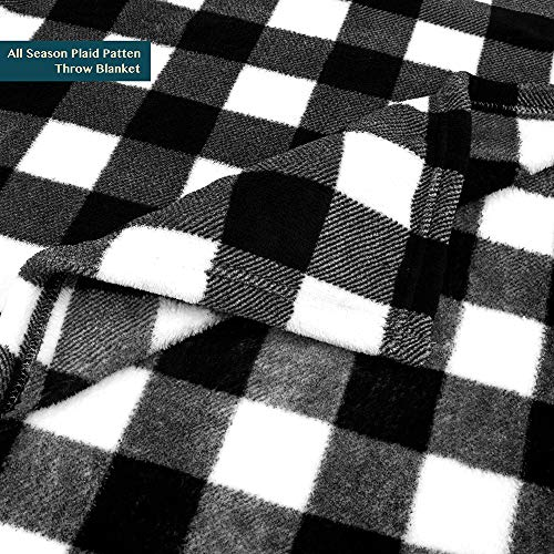 PAVILIA Flannel Fleece Throw Blanket For Sofa Couch Super Soft Velvet Plaid Pattern Checkered Decorative Throw Warm Cozy Lightweight Microfiber 50 X 60 Inches Plaid WhiteBlack 0 1