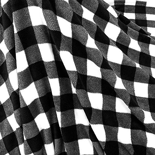 PAVILIA Flannel Fleece Throw Blanket For Sofa Couch Super Soft Velvet Plaid Pattern Checkered Decorative Throw Warm Cozy Lightweight Microfiber 50 X 60 Inches Plaid WhiteBlack 0 3