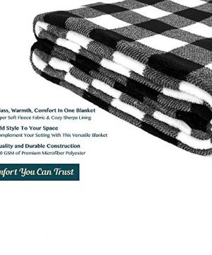 PAVILIA Flannel Fleece Throw Blanket For Sofa Couch Super Soft Velvet Plaid Pattern Checkered Decorative Throw Warm Cozy Lightweight Microfiber 50 X 60 Inches Plaid WhiteBlack 0 4 300x360